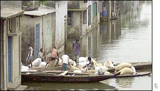 Residents of Noakhali town use boats to travel