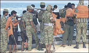 Marine troops of the Tamil Tigers on the beach