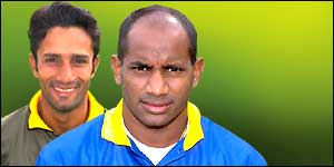 Rival skippers Khaled Mashud and Sanath Jayasuriya