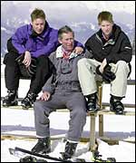 Princes William and Harry with their father Prince Charles