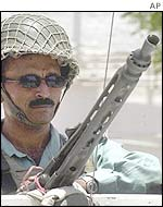 Pakistani soldier stands guard in Hyderabad