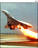Concorde on fire on take-off. AP