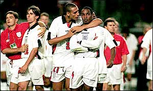 Ferdinand's talent earned him a place in Glenn Hoddle's squad for the 1998 World Cup, but the defender missed out on Euro 2000