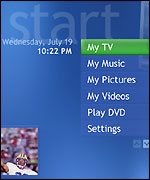 Screen grab of Windows XP Media Center