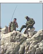 Moroccan soldiers patrol the Perejil island