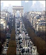 Champs Elysee in 2000, with 11 ferries wheels