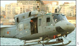 Helicopter lands on the frigate Navarra