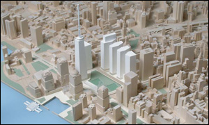 A scale model of one of the six options for redevelopment of Ground Zero