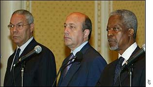 Colin Powell, Ivan Ivanov and Kofi Annan