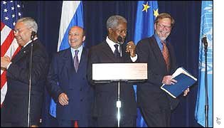 From left, Colin Powell, Russian Foreign Minister Igor Ivanov, the UN's Kofi Annan and Per Stig Moeller of the EU