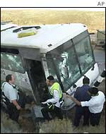 Ambushed bus on West Bank