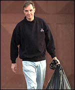 Jonathan Aitken leaving Elmley Prison on the Isle of Sheppey, Kent, after serving seven months