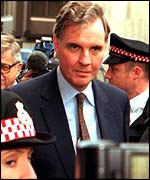 Jonathan Aitken arriving at the Old Bailey for sentencing