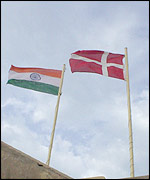 Flag of India and Denmark on the highest turret of Fort Dansborg