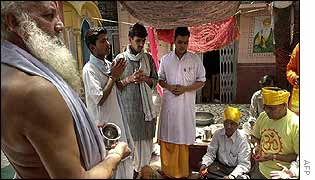 A Hindu prayer ceremony being held to bring rain