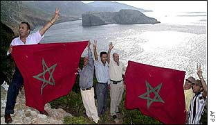 Moroccan protesters on the mainland opposite Perejil