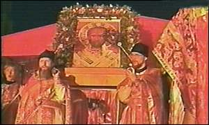 Believers carry an icon of St Nicholas the Miracle Worker