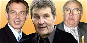 Tony Blair, left, Derek Simpson, and Ken Jackson, right