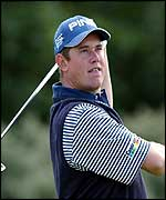 Lee Westwood in action on day one of the 131st Open Championship