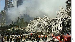 Workers in the Remains of the World Trade Center following 11 September attacks