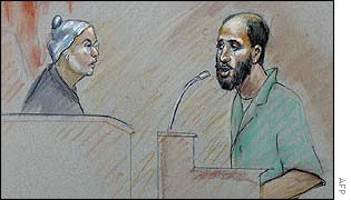 Artist's impression of Zacarias Moussaoui before US District Judge Leonie Brinkema