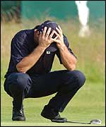 Nick Faldo displays his dismay