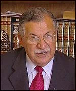 Jalal Talabani, leader of the Patriotic Union of Kurdistan