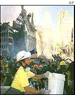 Rescue workers at the World Trade Center