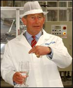 Prince Charles at Danone plant in mid Wales