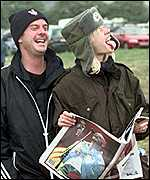 With wife Zo� at Glastonbury in 2001