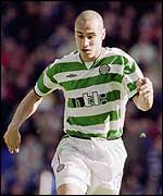 Henrik Larsson plies his trade for Celtic football team