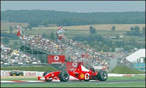 Ferrari pair Michael Schumacher and Rubens Barrichello pushed Montoya all the way