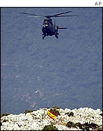 Spanish helicopter landing on Perejil