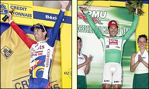 Robbie McEwen picks up the green jersey given  the tour's best sprinter