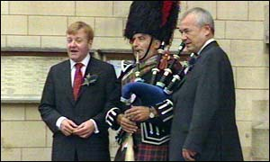 Charles Kennedy and Lord Razzall with the piper