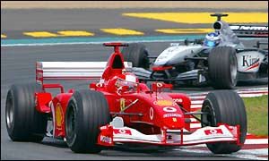 Despite being penalised, Schumacher still comes back strongly to take the lead