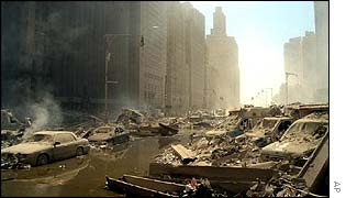 Lower Manhattan after 11 September attack