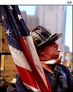 NYC firefighter at World Trade Center site