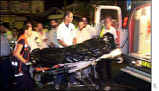 A victim is stretchered away after an attack in Tel Aviv