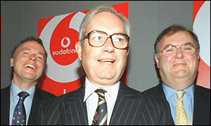 Vodafone chief executive Chris Gent with (left) Ken Hydon, financial director and (right) Julian Horn-Smith, chief operating officer