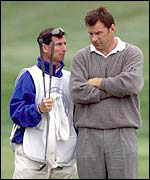 Nick Faldo with his psychologist Kjell Enhager