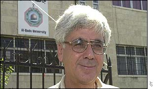 Sari Nusseibeh outside al-Quds university