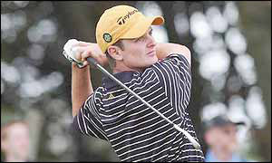 Justin Rose holds his follow-through