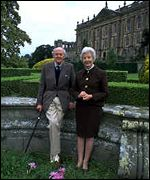 The Duke and Duchess of Devonshire outside Chatsworth House