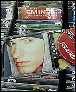Bootleg Eminem CD at a kiosk in Belgrade