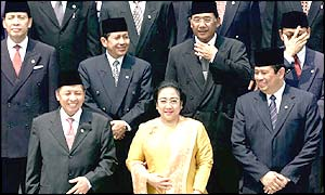 Megawati Sukarnoputri with her cabinet (AP photo)