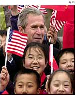 President Bush with Chinese youngsters