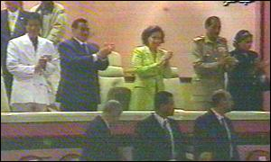 Gaddafi, Mubarak, Mrs Mubarak, Egyptian defence minister and his wife