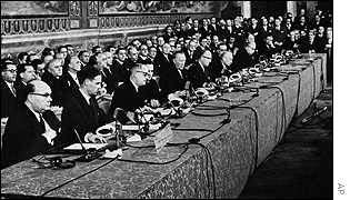Signing of Treaty of Rome, by same countries involved in Coal and Steel Treaty