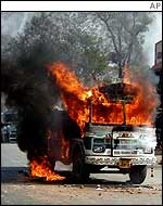 A bus on fire in Gujarat